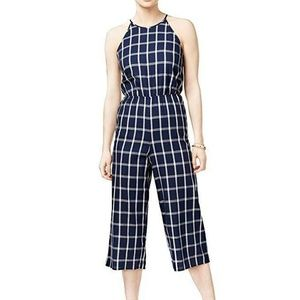 Maison Jules Neck Tie Back Plaid Romper Jumpsuit L